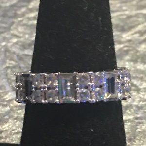 Silver & Wht Diamond Simulant Eternity Band, 8